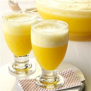 Banana Brunch Punch Recipe -A cold glass of refreshing punch really brightens a brunch. It's nice to serve a crisp beverage like this that's more spectacular than plain juice. With bananas, orange juice and lemonade, it can add tropical flair to a winter day. -Mary Anne McWhirter, Pearland, Texas
