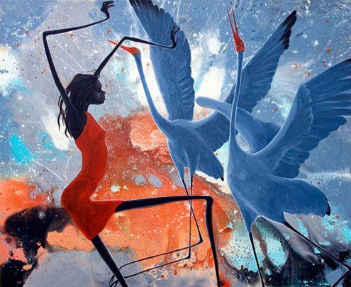 Judy-Prosser-australian-painting - 'Red Dress Girl'