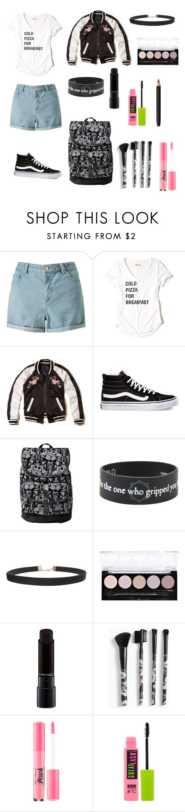 """""""Cold pizza"""" by me1ody ❤ liked on Polyvore featuring Miss Selfridge, Hollister Co., Vans, Disney, Humble Chic, L.A. Colors, MAC Cosmetics, Torrid, Too Faced Cosmetics and Maybelline"""