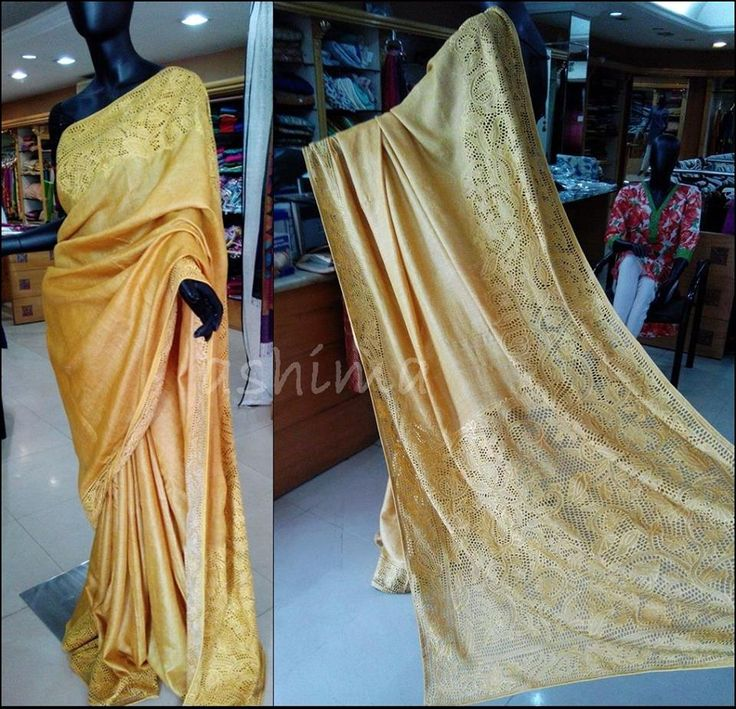 Code 2404155 Tussar Saree with Cutwork - Yellow Free shipping to all courier destination in India Online payments through PayU - Message Saree Code, Email Id & Mobile number in our FB Inbox