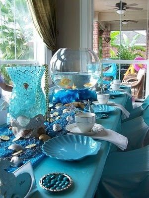 Ocean/mermaid Party theme with fish bowls