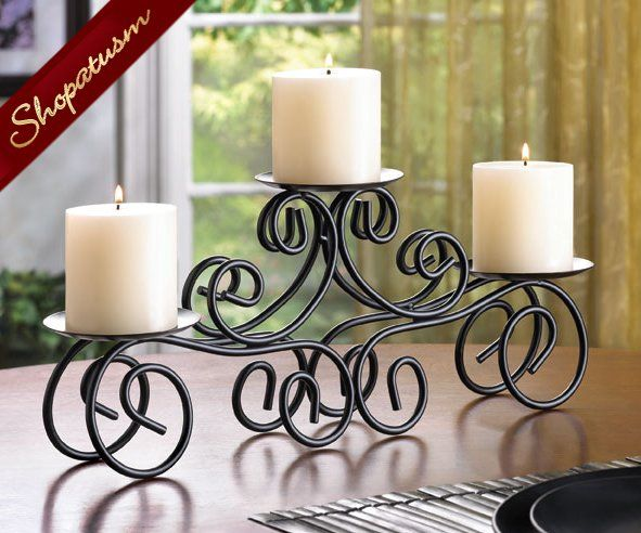 Tuscan Wedding Centerpiece Black Candle Holder Pillar
