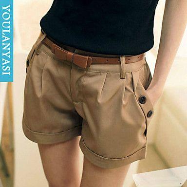 Calças Mulher ( Poliéster/Misto de Algodão ) - Shorts - Fina - Sem Elasticidade – BRL R$ 66,66