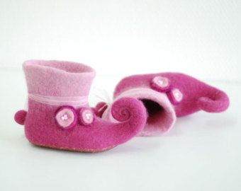 For Little Fairy handfelted slippers home shoes baby booties HANDMADE TO ORDER Any colors and size