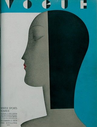 Illustrated Vogue UK cover.  Ladies face, with black hair split down middle. (Dec 1929)