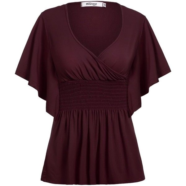 Meaneor Women's Plus Size Slimming V-neck Smocked Empire Waist Top... ($23) ❤ liked on Polyvore featuring tops, blouses, plus size v neck tops, slimming blouses, red top, plus size blouses and purple blouse