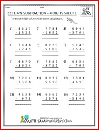 Column Subtraction 4 Digits, 4 digit subtraction worksheets