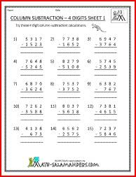 Column Subtraction 4 Digits, 4 digit subtraction worksheets