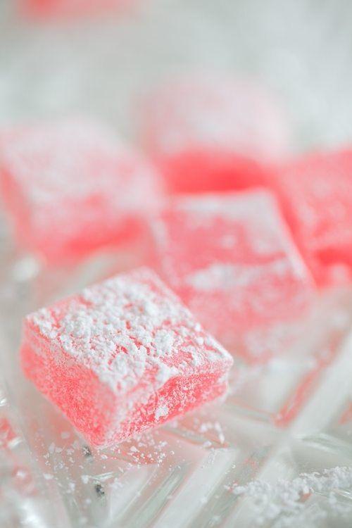 Turkish delights: ingredients 8 oz. water 1 oz. gelatine 14 oz. sugar ¼ tsp. citric acid ½ tsp. vanilla essence 2 tsp. triple-strength rose water pink food colouring - optional 2oz. powdered sugar 1 oz. cornflour.