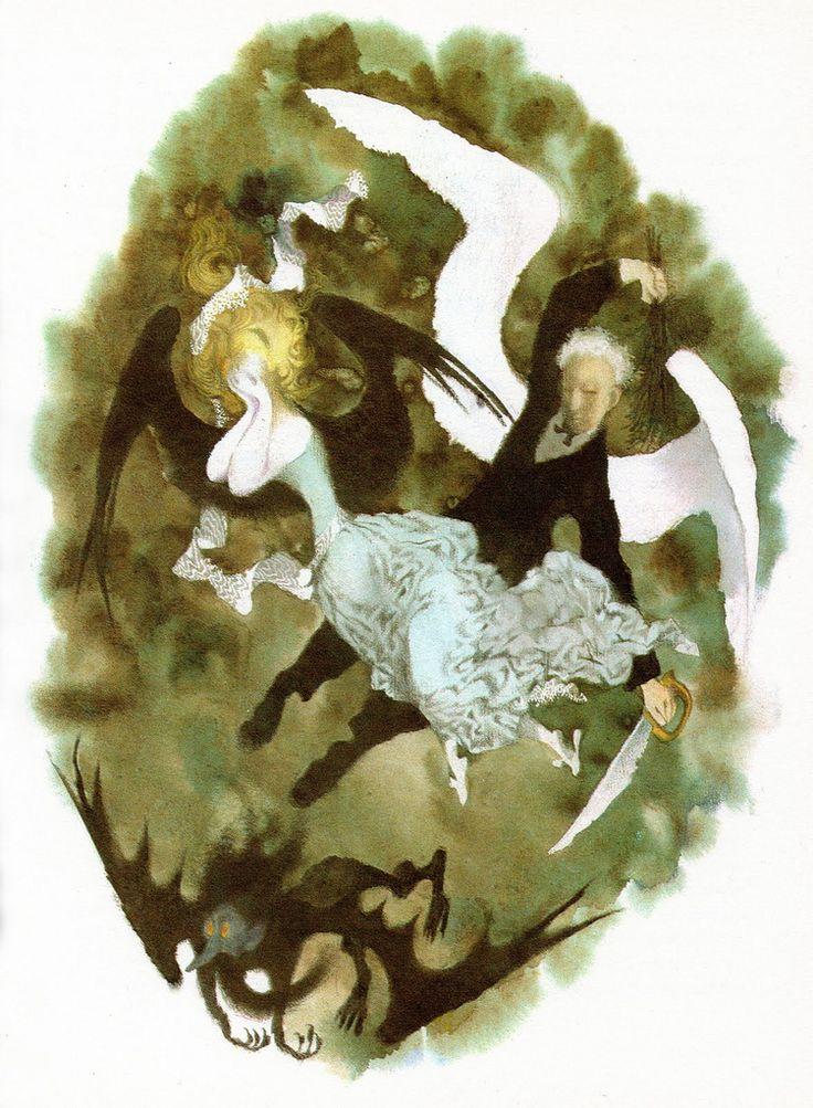 "Jiri Trnka - Illustration for Hans Christian Andersons Fairy Tales ""The Traveling Companion"" 1959"
