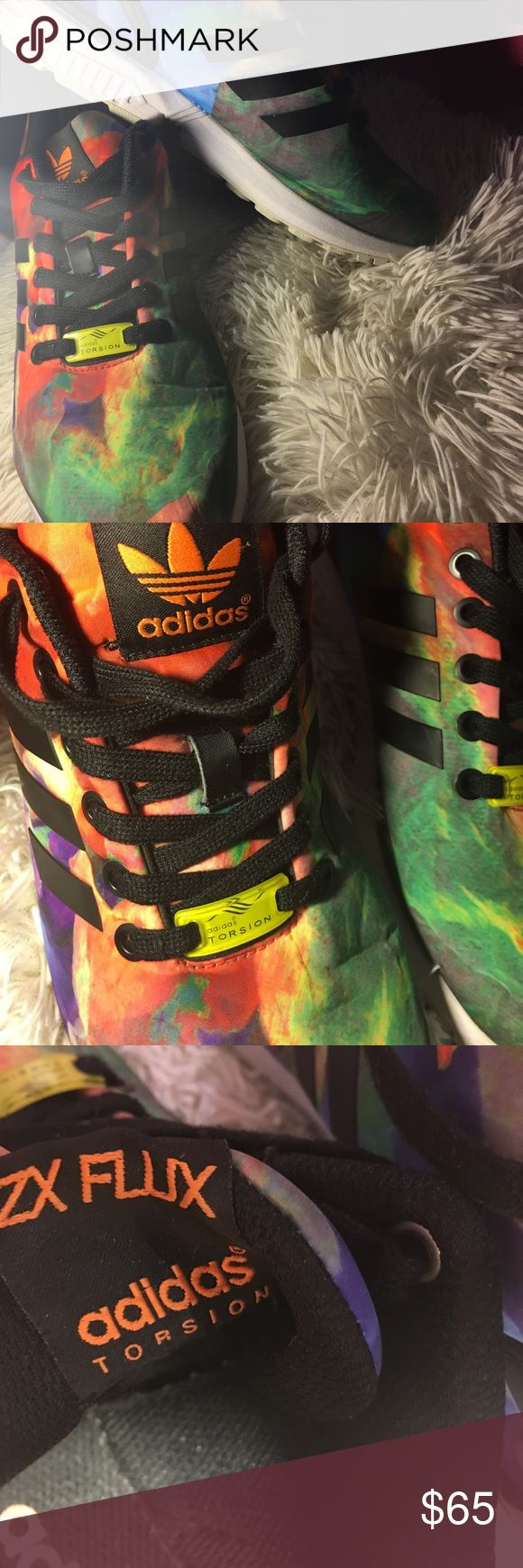 Adidas ZX FLUX Multi-color Adidas ZX Flux , very cute and can go with almost anything! Barley wore them, so LIKE NEW! Adidas Shoes Sneakers