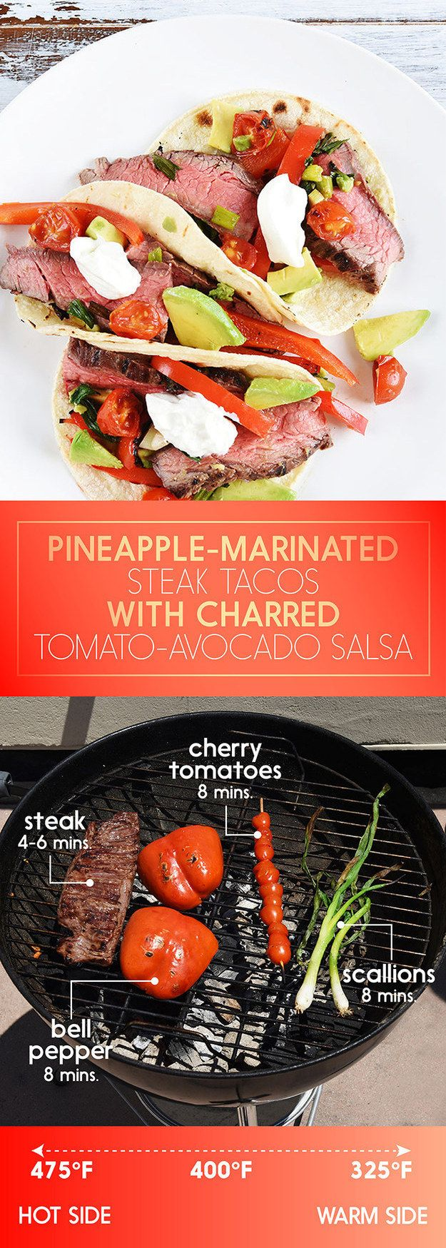 Pineapple-Marinated Steak Tacos with Charred Tomato-Avocado Salsa | 5 30-Minute Dinners To Grill This Week