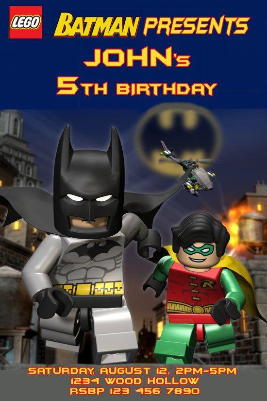 Lego Batman and Robin birthday Invitation - Digital File - Printable