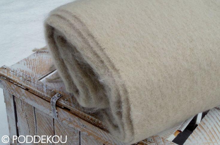Béžovo biela deka / Luxusná mohérová deka biela / Wool blanket bone white
