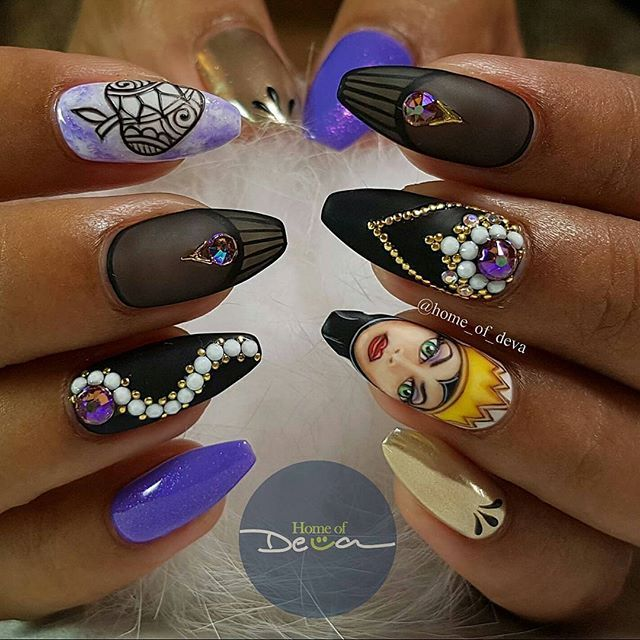 Disney Purple and Black Nails