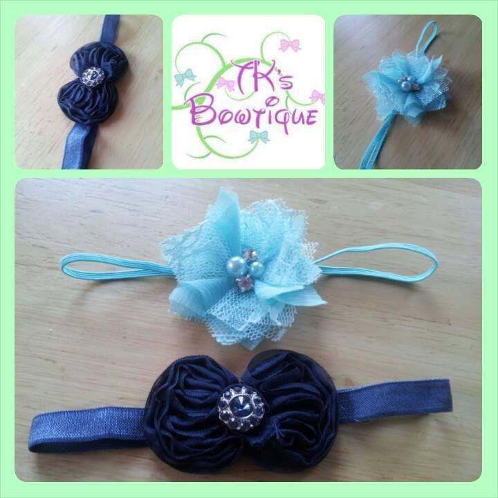 Handmade by Mel @ TK's Bowtique Set of 2 Blue Newborn headbands.