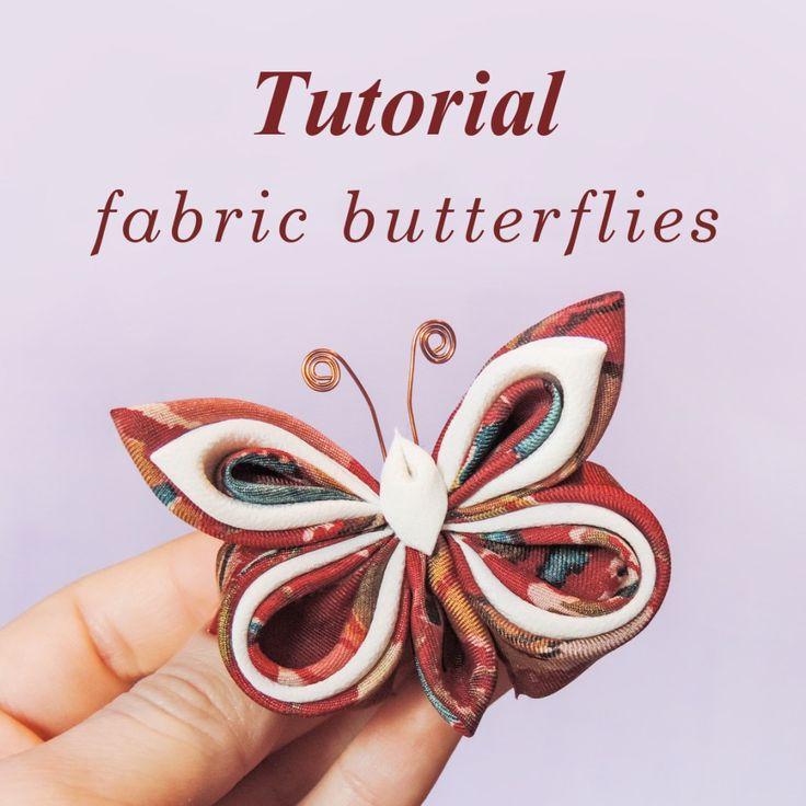 Fabric butterflies tutorial - DYI silk organza kanzashi butterfly