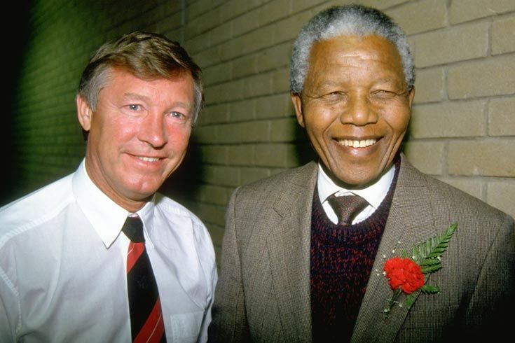 1993: South Africa's isolation in sport began in the 1950s and increased during the 1960s until being revoked in 1993. Mandela with manager of Manchester United, during South African tour.
