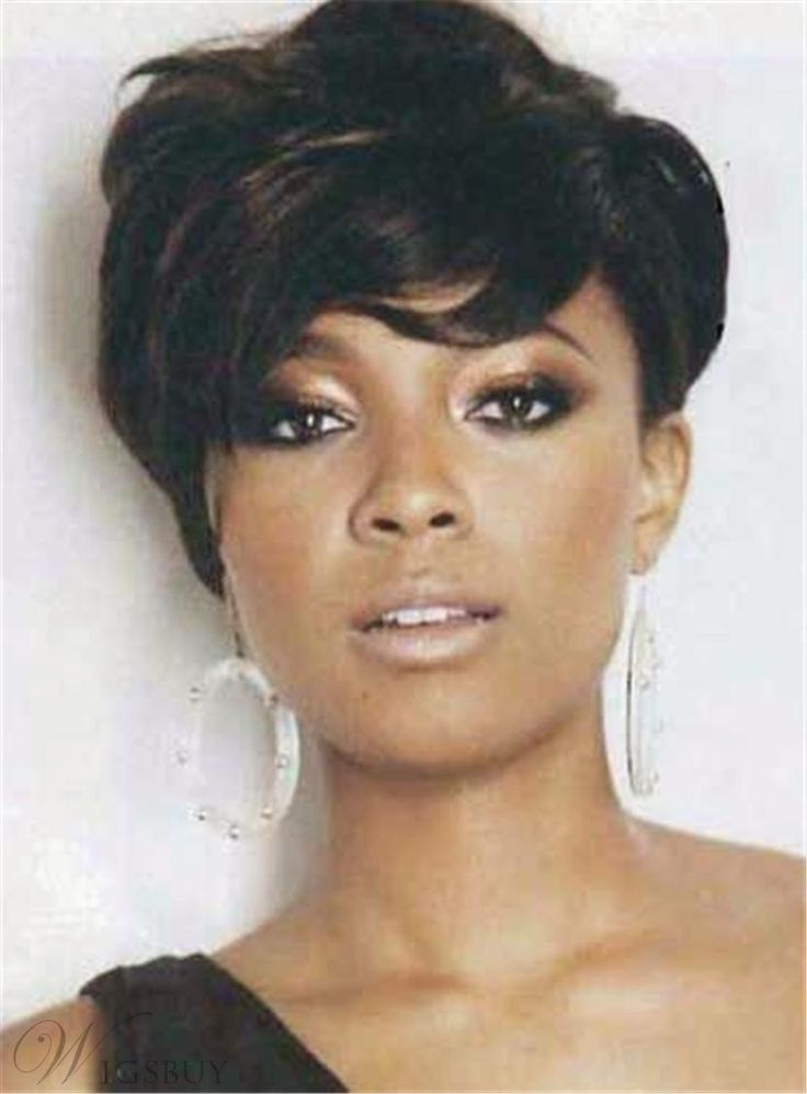 #WigsBuy - #WigsBuy Short Tilted Pixie Hairstyle Straight Human Hairs Capless Women African American Wigs 6 Inches - AdoreWe.com