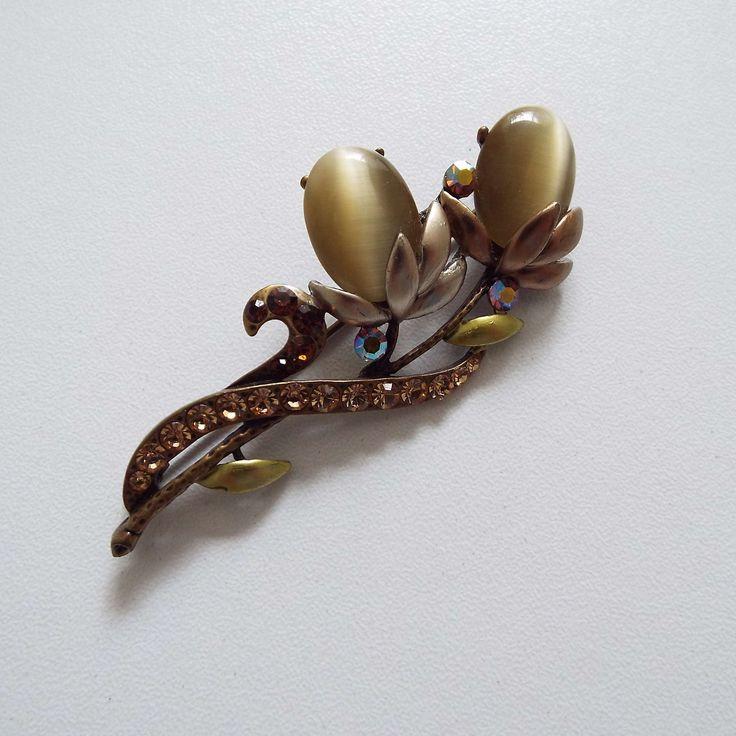 Vintage Orange Rhinestone & Olive Green Glass Flower Brooch | Etsy