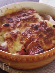 ヘルシーチーズでごちそう♪カスレ風大豆と豚肉のトマトグラタン
