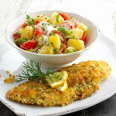 Gebackenes Seelachsfilet mit Kartoffelsalat