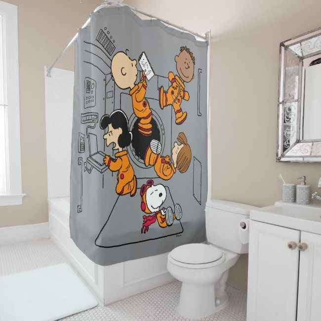Nasa Peanuts Gang In Space Shower Curtain Zazzle Com In 2020 Nasa Space Themed Bedroom Shower Curtain