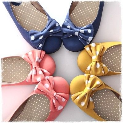 BN Womens Ballet FLATS POLKA BOWED BALLERINAS Casual Work Shoes Yellow Pink Blue
