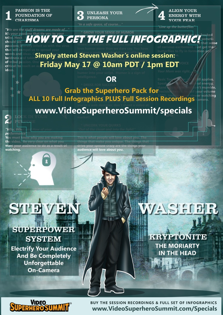 Steven Washer wants you to electrify your audience and become completely unforgettable on camera. Steve shares it all at the Video Superhero Summit. Learn more at http://www.videosuperherosummit.com