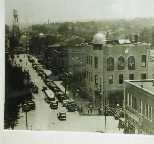 Photo of downtown Monroe on display in the Genealogy Collection, Union County Public Library. Union County Public Library, Genealogy Collection :: Cultural Heritage Institutions of North Carolina, NC ECHO Project