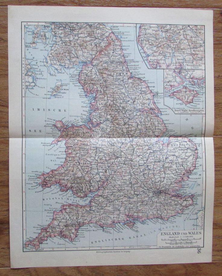 England und Wales - alte Landkarte Karte old map 1928