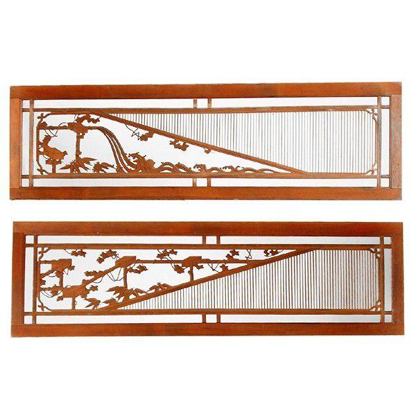 RANMA JAPANESE TRANSOM | 465: Japanese Wood Transom (Ranma) : Lot 465