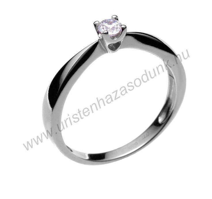 E1FC - 33.950 Ft 14 karátos fehér arany cirkónia köves Eljegyzési Gyűrűk 48-60-as méretig azonnal raktárról www.uristenhazasodunk.hu