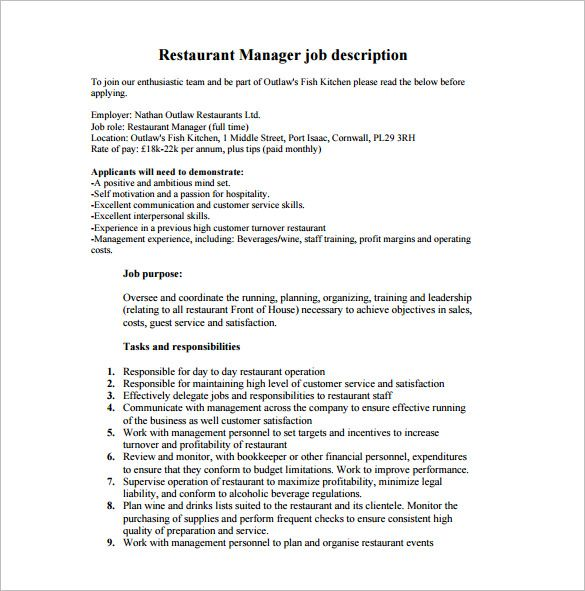 Restaurant Manager Job Description Check More At Https Nationalgriefawarenessday Com 210 Restaurant Management Job Description Template Sales Job Description