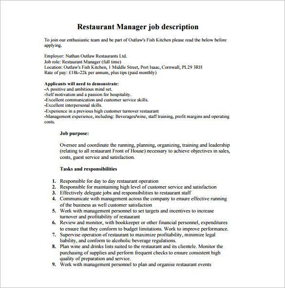 Restaurant Manager Job Description Check More At Https Nationalgriefawarenessday Com 2105 Rest Restaurant Management Restaurant Jobs Job Description Template