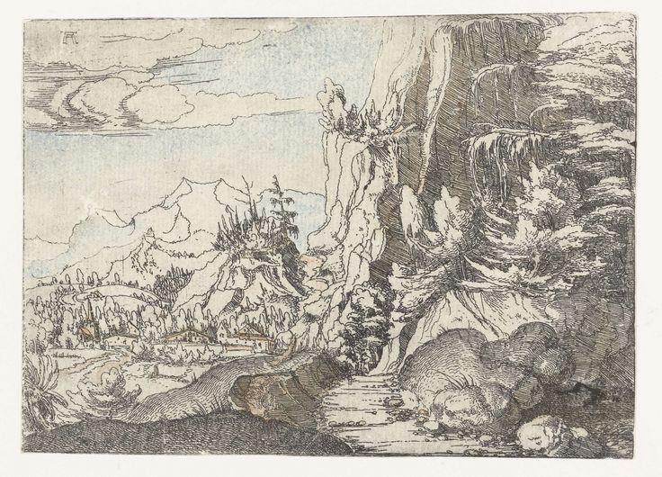 Albrecht Altdorfer | Landschap met donkere rotswand, Albrecht Altdorfer, c. 1506 - 1522 | Berglandschap met rechts en rotswand met veel schaduw, in de vallei een aantal huizen en een kerk.