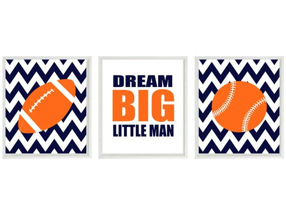 Sports Nursery Wall Art, Baby Boy Nursery, Football, Baseball, Dream Big LIttle Man Quote, Navy Blue Orange, Chevron Print, Boy Room Decor