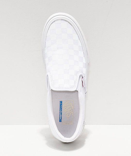 d80423c8b4ac Vans Slip-On Pro Reflect White Skate Shoes in 2019 | School | Vans ...