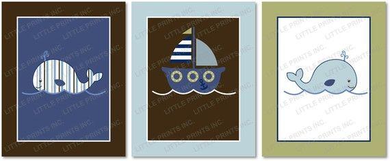 Boys Nautical Whale Sailboat Nursery Wall by LittlePrintsParties, $8.00