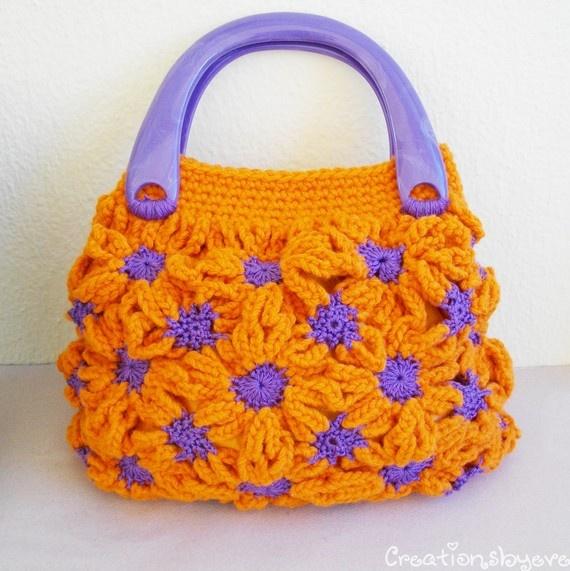 Funky crochet bag tangerine-purple