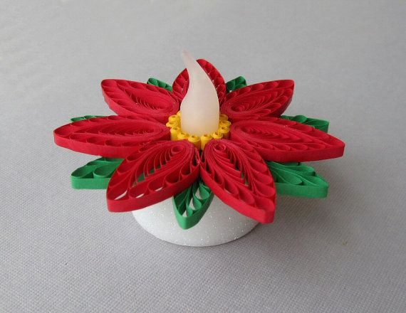 Quilling Tea Light Collar Poinsettia Red and by BarbarasBeautys, $12.00