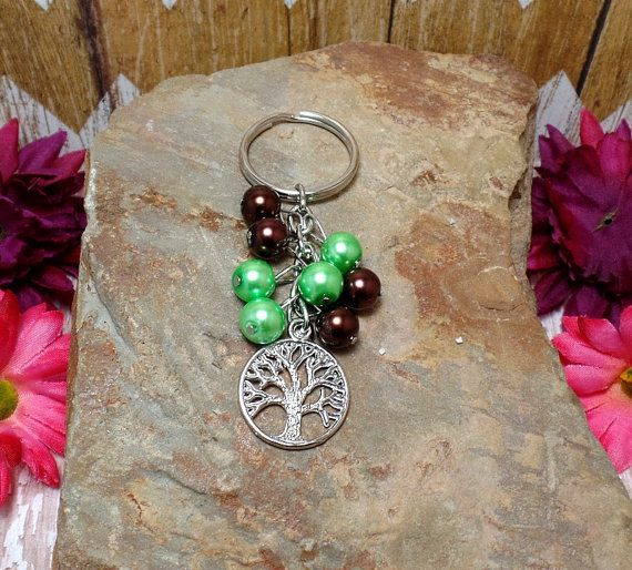 Green & Brown Tree of Life Keychain Or Purse Charm