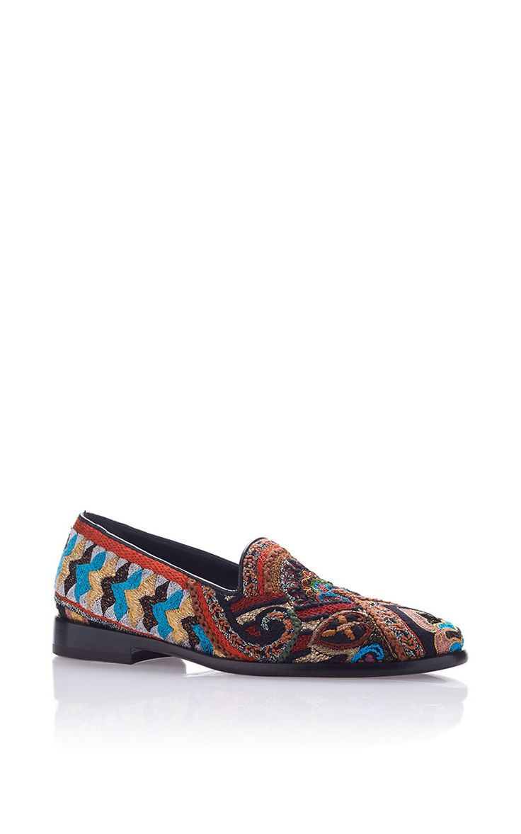 Embroidered Slippers by ETRO for Preorder on Moda Operandi
