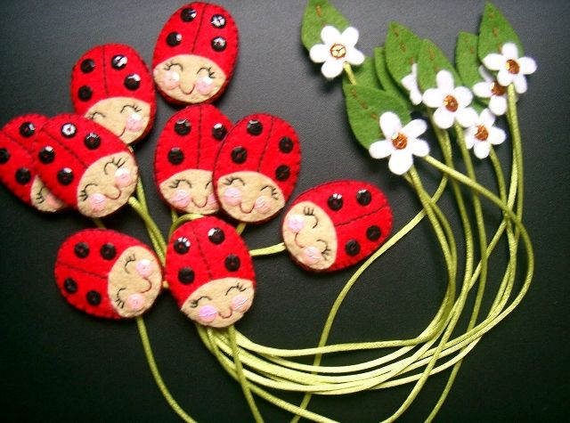 ladybug and flower bookmark
