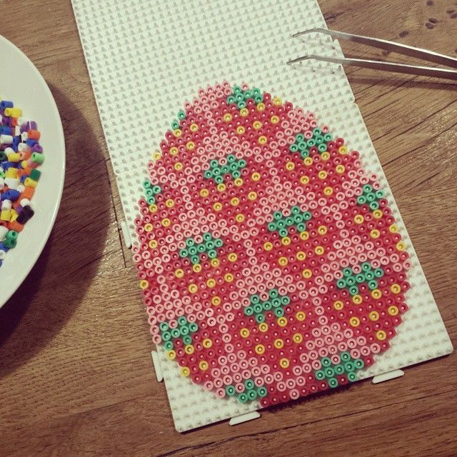 Strawberry Easter egg hama beads by beautypolish