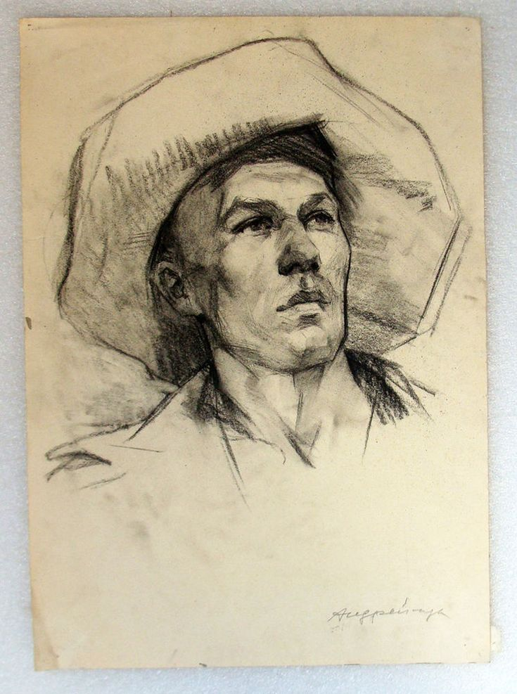 Original Ukrainia Social Realism USSR Drawing Painting Man Portrait Vintage Old #Realism