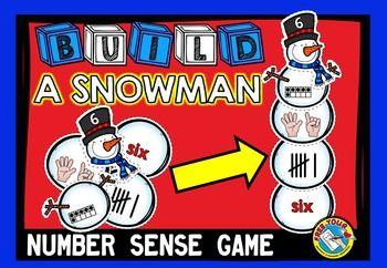 #WINTER #MATH #CENTER: #BUILD A #SNOWMAN: #NUMBER #SENSE #GAME