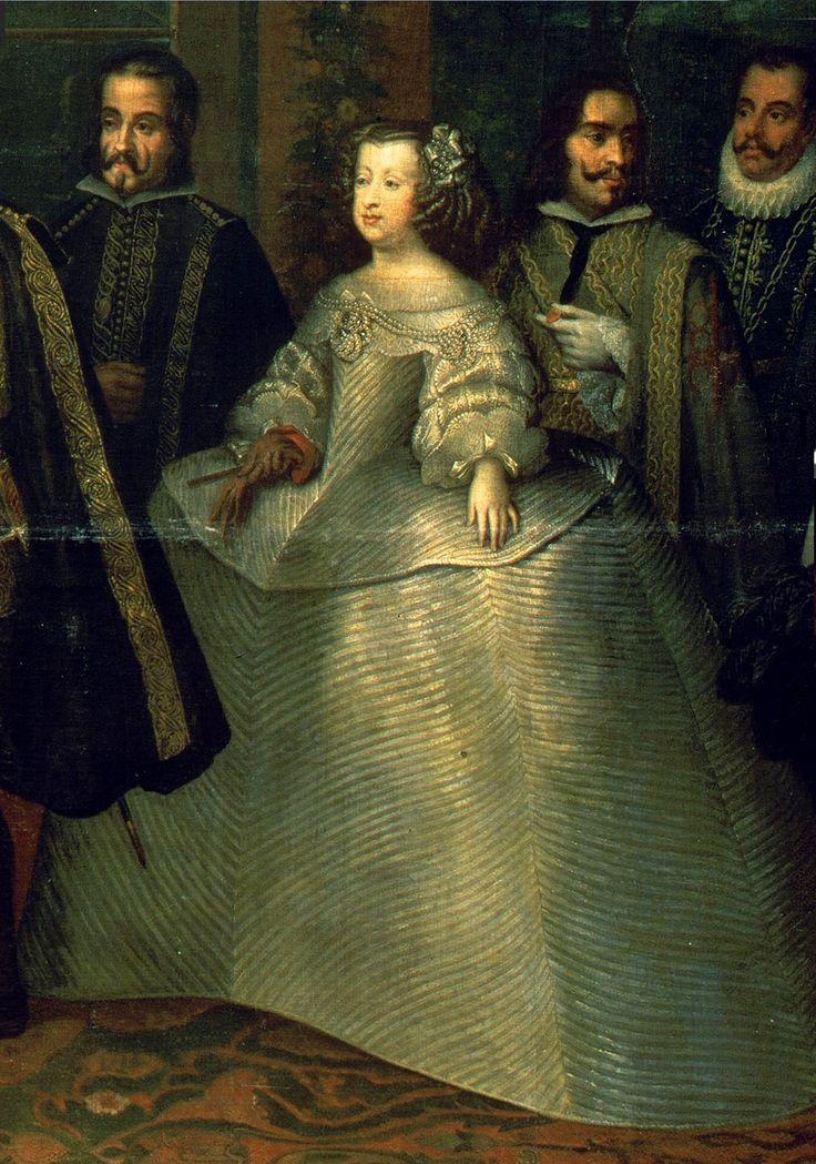 """Marie-Thérèse d'Autriche, infante d'Espagne, reine de France, en 1660, par Renart de Saint-André Détail de """"L'Entrevue de Louis XIV et Philippe IV sur l'Île des Faisans"""", qui eut lieu le 7 juin 1660, à l'issue de laquelle l'infante Marie-Thérèse fut remise à la France. À gauche, on reconnaît Don Louis de Haro, principal ministre de Philippe IV, qui négocia du côté espagnol le Traité des Pyrénées"""