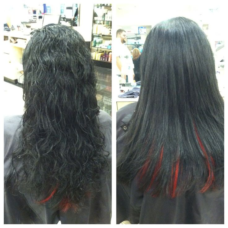 Black with red peekaboos. Peekaboo highlights are a great way to get a splash of color without going too crazy.