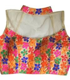 Buy Multicolor silk embroidered readymade blouse readymade-blouse online